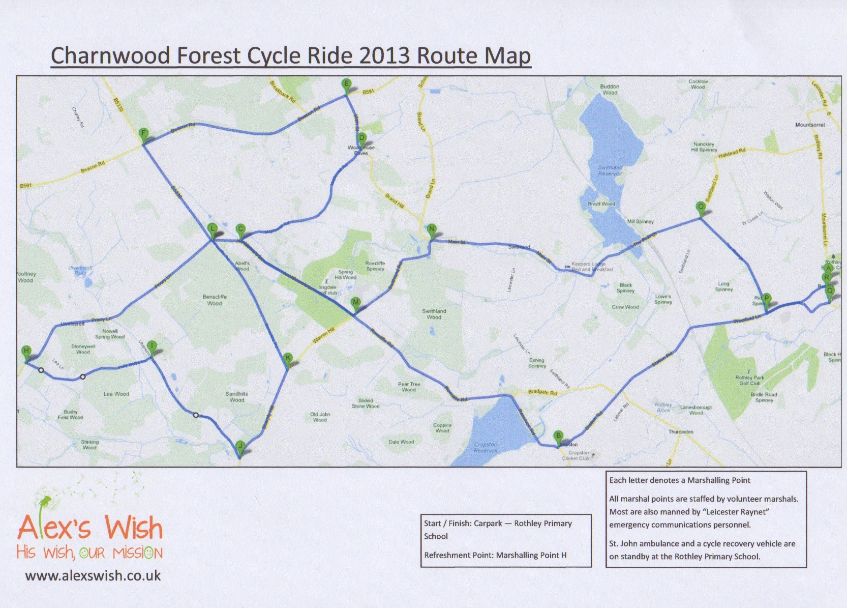 Charnwood Forest Cycle Ride - Route Map